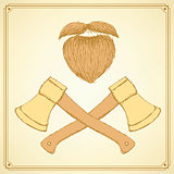 Sketch axe and beard in vintage style