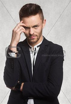 man in black thinking