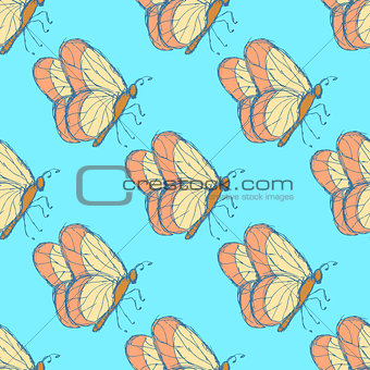 Sketch butterfly  in vintage style