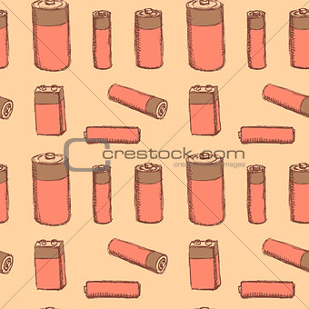 Sketch batteries in vintage style