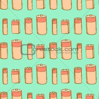 Sketch batteries in vintage style