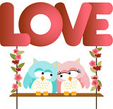 Love owls on a swing love word letters