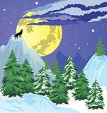 Night winter forest scene