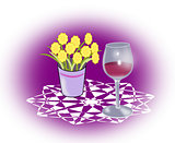 Wineglass and Flowers