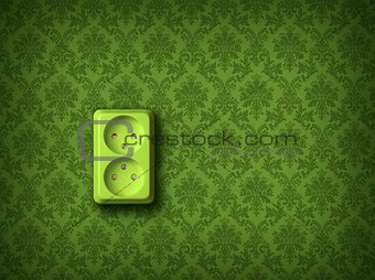 Green energy concept wall socket