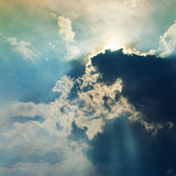 Clouds in sky with rays of light