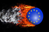 Flag with a trail of fire and smoke - European Union