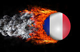 Flag with a trail of fire and smoke - France
