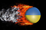 Flag with a trail of fire and smoke - Ukraine