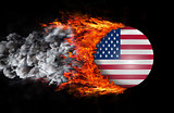 Flag with a trail of fire and smoke - United States