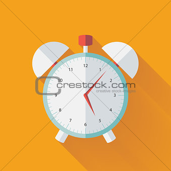 Alarm clock flat icon over yellow