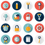 Business circle flat icon set long shadows