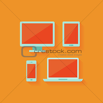 Flat computer and mobile devices set over orange