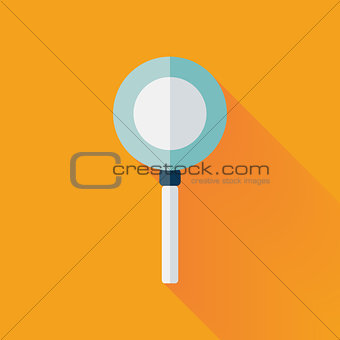 Flat loupe icon over yellow