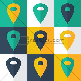 Flat pin icons set