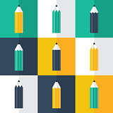 Pencil flat icons set