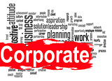 Corporate word cloud with red banner
