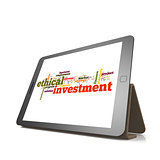 Ethical investmentword cloud on tablet