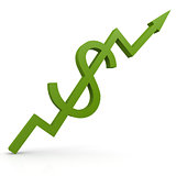 Green graph with dollar sign up