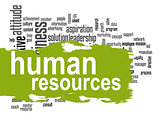 Human resources word cloud with green banner
