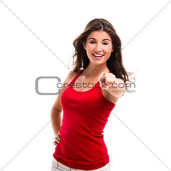 Beautiful woman pointing to somewhere