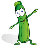 fun zucchini cartoon isolated on white background