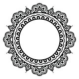Indian Henna floral tattoo round pattern - Mehndi