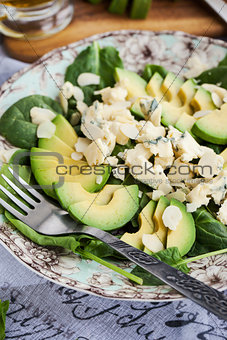Avocado and blue cheese salad