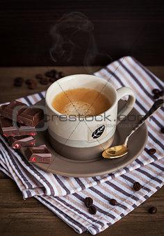 Cup of  hot espresso coffee