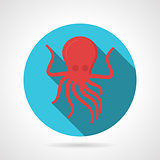 Flat color design octopus vector icon
