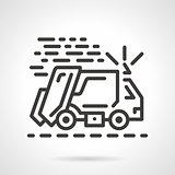 Garbage truck black line vector icon