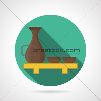 Flat color sake set vector icon