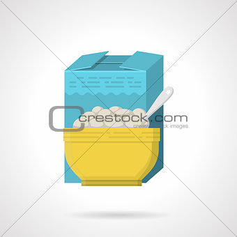 Breakfast cereal flat color vector icon