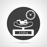 Weighing newborn black round vector icon