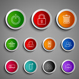 Collection round color buttons icons design template