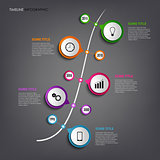Time line info graphic with colored rounds design template