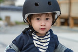 Cute Boy with Bicycle Helmet