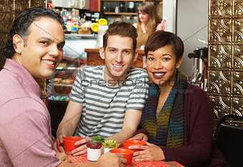 Three People in Cafe