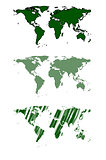 Green world map vector design