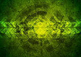Green grunge tech geometric background