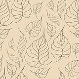 Seamless pattern with leaves in vintage style.