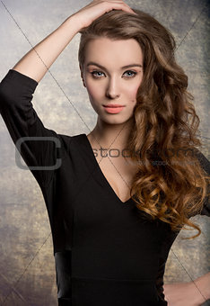 wavy girl in fashion pose