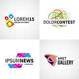 Set of modern colorful abstract news web contest gallery logo emblem vector design elements
