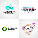Set of modern creative colorful abstract spa health app logo emblem vector design elements