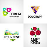 Set of modern creative colorful abstract flower fest studio logo emblem vector design elements