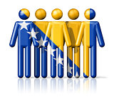 Flag of Bosnia and Herzegovina on stick figure