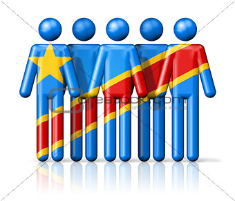 Flag of Democratic Republic of the Congo on stick figure