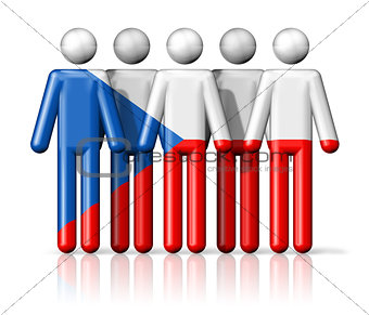 Flag of Czech Republic on stick figure