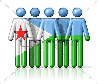 Flag of Djibouti on stick figure