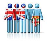 Flag of Fiji on stick figure
